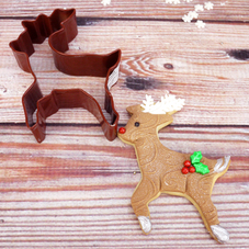 Brown Metal Reindeer Cookie Cutter