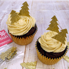 Gold Glitter Christmas Tree Cake Toppers (12Pc.)