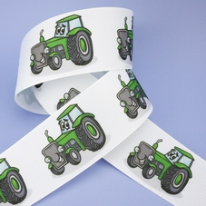 1 Metre Length Of White Grosgrain Ribbon With Green Tractors