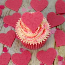 Large Pink Icing Embossed Hearts