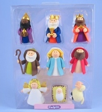 9 Piece Claydough Nativity Set