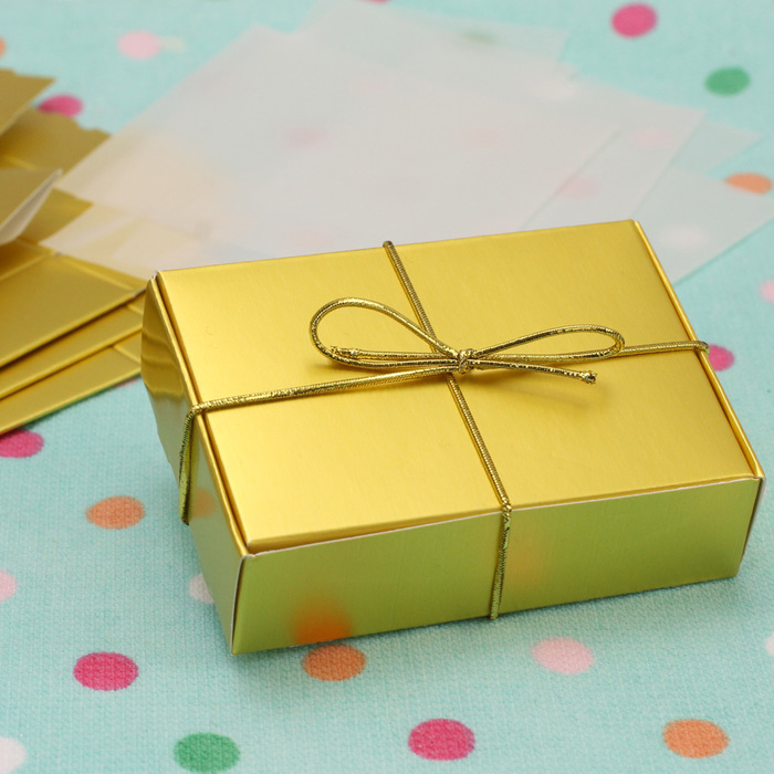 Pack Of 6 Gold  Cake Slice Boxes
