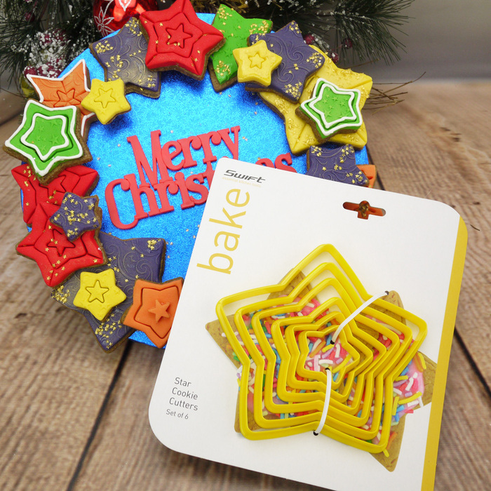 Set Of 6 Yellow Plastic Star Cookie Cutters