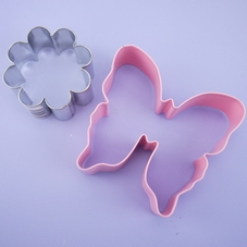 Pink Metal Butterfly And Flower Cookie Cutter