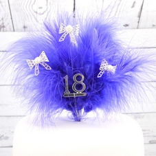 Purple Feather Spray With Silver '18' And Silver Bows With Pearls