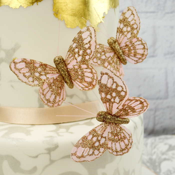3 x Large Pale Pink & Gold Glitter Butterflies AND Small Pick