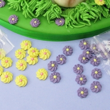 Pack Of 28 Small Mauve & Yellow Icing Flowers