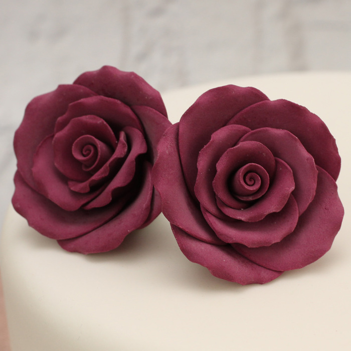 LARGE Burgundy Sugar Roses (Hamilworth)
