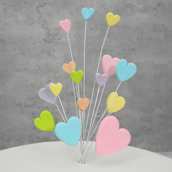 Mixed Pastels Shooting Hearts Spray WITH Blue Flower Pick