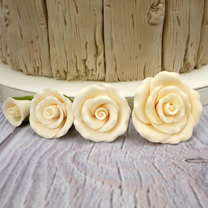 Handmade Sugar Roses In Ivory/Cream