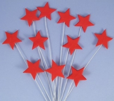 Icing Stars On Wires In Red With Plastic Pick (12Pc.)