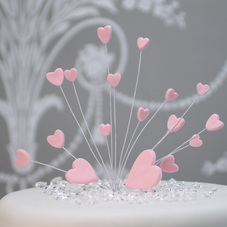 Pink Handmade Icing Shooting Hearts Spray With Plastic Pick