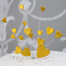 Radiant Gold Handmade Icing Shooting Hearts Spray With Plastic Pick