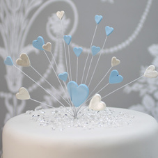 Blue & Pearl White Handmade Icing Shooting Hearts Spray With Plastic Pick