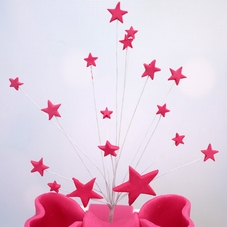 Cerise Handmade Icing Shooting Stars Spray With Plastic Pick