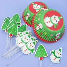 Pack Of 24 Frosted Fun Snowman Cake Cases & Picks