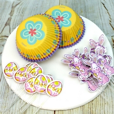 Egg Yellow & Lilac Floral Cake Cases & Picks (24Pc.)