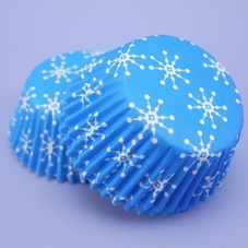 Pack Of 60 PME Mid Blue Snowflakes Baking Cases