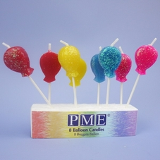 Pack Of 8 Glittery Balloon Candles