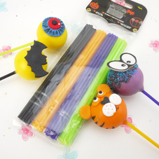 Pack Of 60 Black, Green, Orange & Purple Cake Pop Sticks
