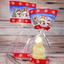 Clear Cellophane Bags With Snowmen Design And Ties (12Pc.)