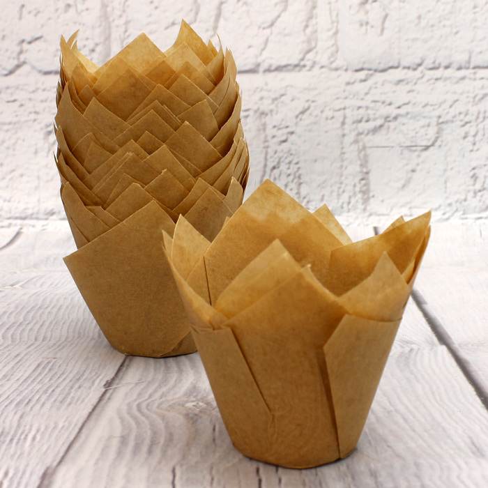 Pack Of 50 Caramel Tulip Muffin Wraps
