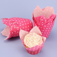 Pack Of 50 Pink With White Polka Dots Tulip Muffin Wraps