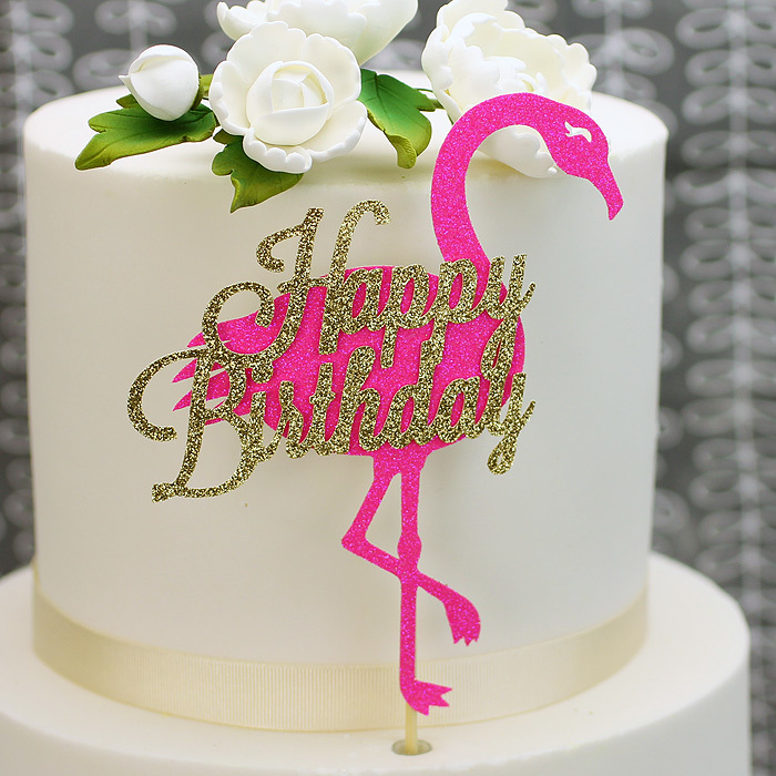 Pink & Gold Glitter 'Happy Birthday' Flamingo Cake Topper