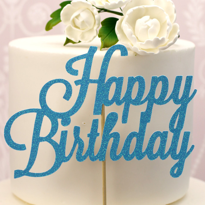 Blue Glitter Happy Birthday Cake Topper