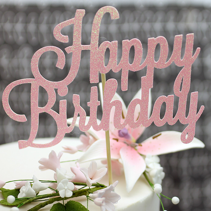PINK Glitter 'Happy Birthday' Cake Topper (check it's NOT rose gold one!!)