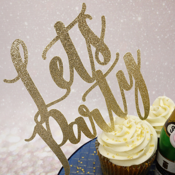 'Let's Party' Glitter Cake Topper In Soft Gold