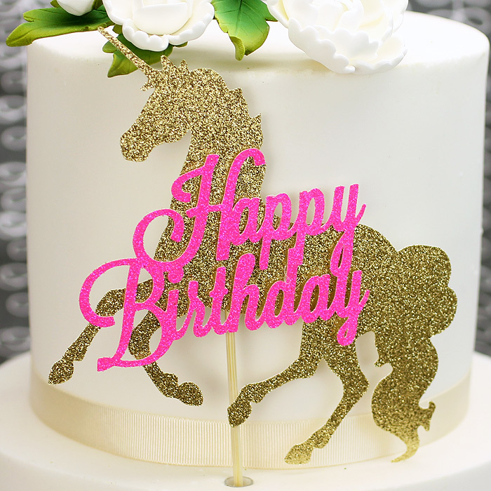 Pink And Gold Glitter Unicorn Birthday Cake Topper