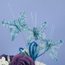 Pack Of 3 Small Glittery Turquoise Butterflies On Wires With Plastic Pick