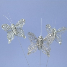Pack Of 3 Small Glittery Silver Butterflies On Wires With Plastic Pick