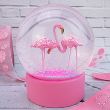 Flamingoes Pink Snow Globe Cake Topper