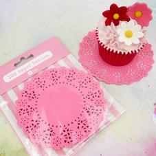 Pack Of 100 Mini Pink Doilies