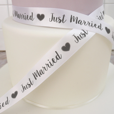 Just Married White Satin Ribbon (25mm) - image 1