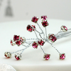 Pack Of 6 Pink Diamante Stems