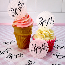 Wafer 30th Birthday cupcake toppers