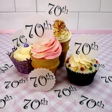 Wafer 70th Birthday Cupcake Discs