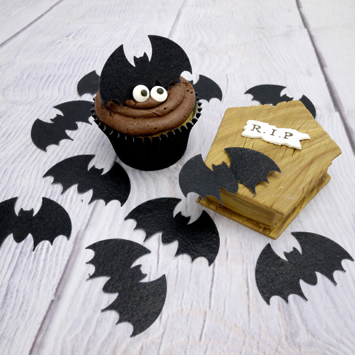 Large Wafer Bats Halloween Cupcake Toppers (10Pc.)