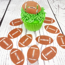 Brown Wafer Rugby Balls Cupcake Toppers (12Pc.)
