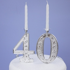 Large Silver Numeral Candle Holder & Candle