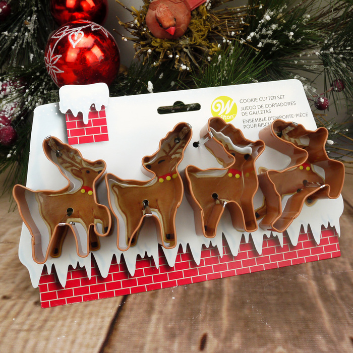 Wilton Set Of 4 Reindeer Cookie Cutters Set