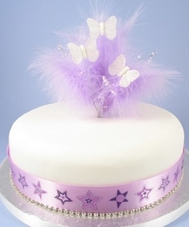 Lilac Feather Cake Top With Gems And Butterflies
