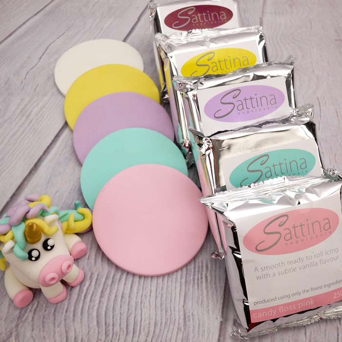 Unicorn Sattina Selection 250g x 5 White/Lilac/Suns.Yell/Candy Fl Pk/Aqua - image 2