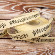 Musical Notes (On Stave) On Cream Ribbon - image 2