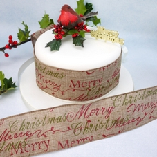 Hessian Merry Christmas Wide Wired Ribbon - image 2