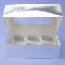 Pack Of 2 Silver 6 Cavity Cupcake Boxes With Clear Window Lid & Insert - image 2