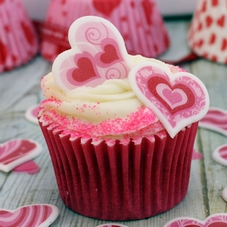 Box Of 60 Flat Pink & White Patterned Icing Hearts - image 2